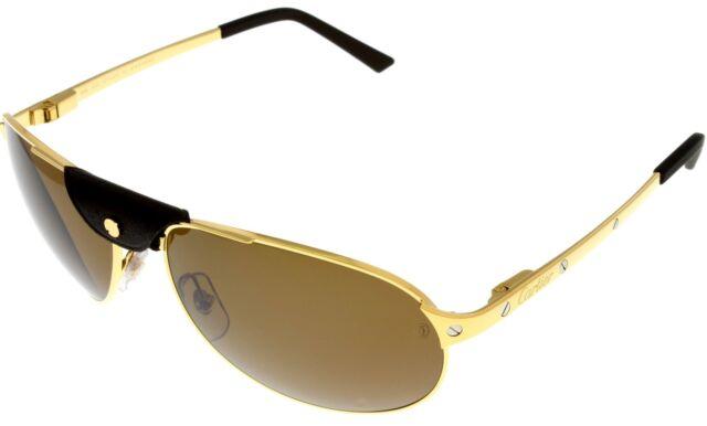 ac80c5426d Cartier Edition SANTOS-Dumont Sunglasses Aviator Unisex Gold Polarized  T8200889