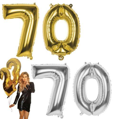 70.Geburtstag XXL FOLIENBALLON Zahl 86cm Gold //Silber Helium Luftballon Jubiläum