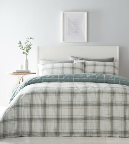 DOUBLE OR KING SINGLE TARTAN CHECK SKYE REVERSIBLE DUVET SET DUCK EGG