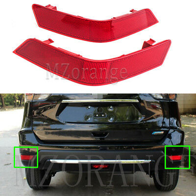 2X Rear Bumper Reflector Tail Brake Light Cover For Nissan X-trail Rogue 2017-18