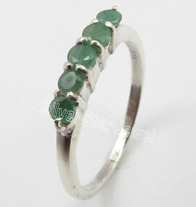925-Solid-Silver-Low-Price-ROUND-EMERALD-5-STONE-WEDDING-Ring-Any-Size-5-to-10