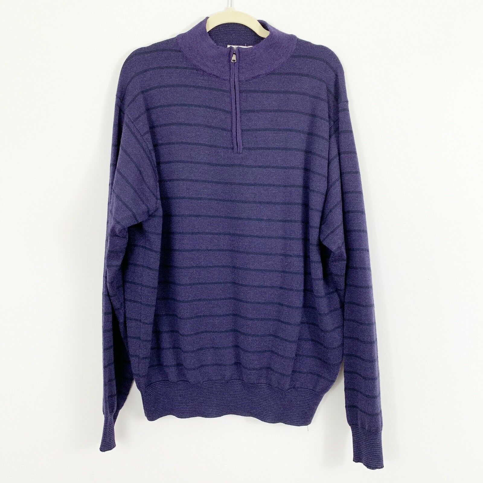 Peter Millar Purple Striped Merino Wool Sweater Size XL Extra Large 1 4 Zip