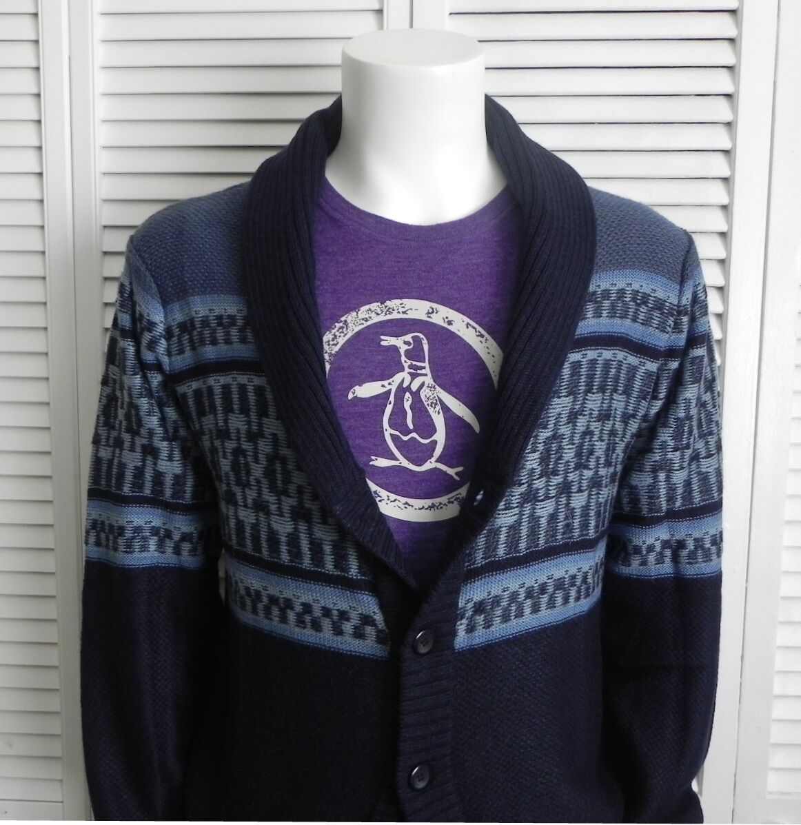 NEW Mens Größe XXXL 3XL ALPACA Navy Blau Shawl Collar Cardigan Sweater Pattern