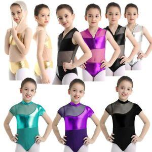 Girls-Metallic-Gymnastics-Leotard-Ballet-Dance-Dress-Kid-Shiny-Dancewear-Costume