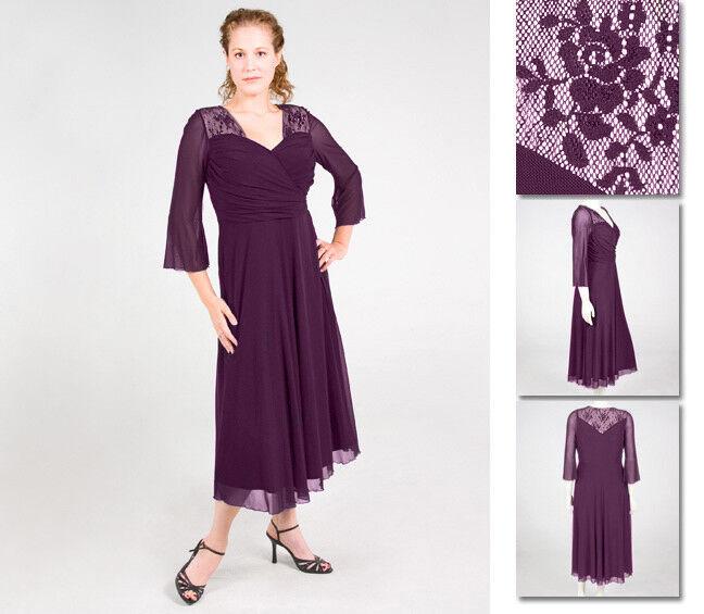 NEW Zaftique AUDREY LACE Dress EGGPLANT Purple  2Z 4Z   20 28   2X 4X
