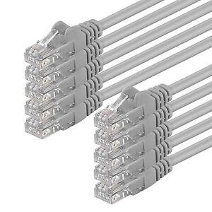 10-X-0-25M-M-cat-5e-U-UTP-CABLE-GRIS-Cable-Patch-LAN-Reseau-Ethernet-Reseau-DSL