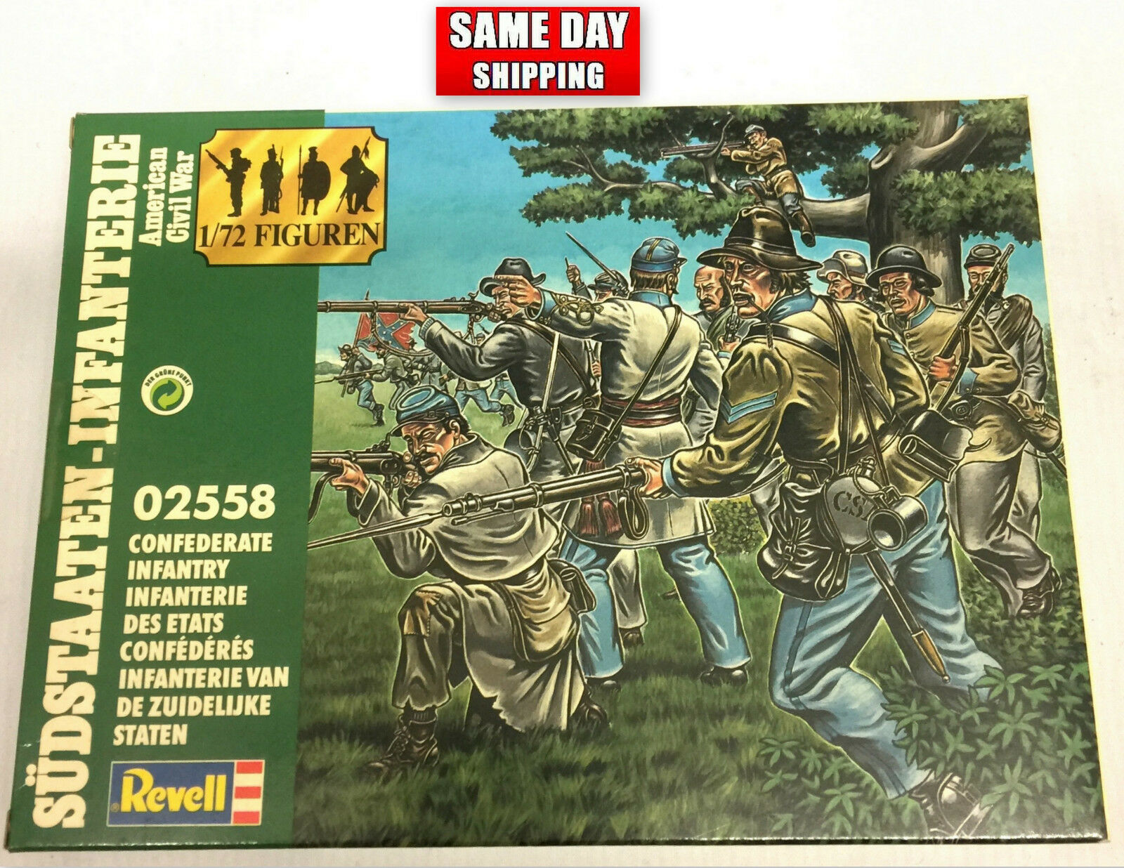 Revell Confederate Infantry 2558 50 Pieces Box sealed Unopened 1 72 Collectors