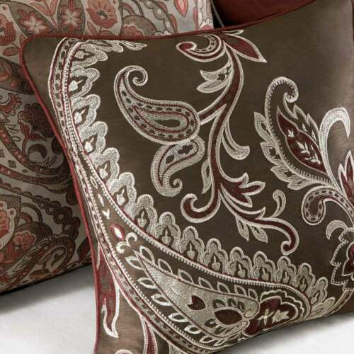 Burgundy Red Brown Gold Paisley Damask 7 pc Comforter Set Queen Cal King Bedding