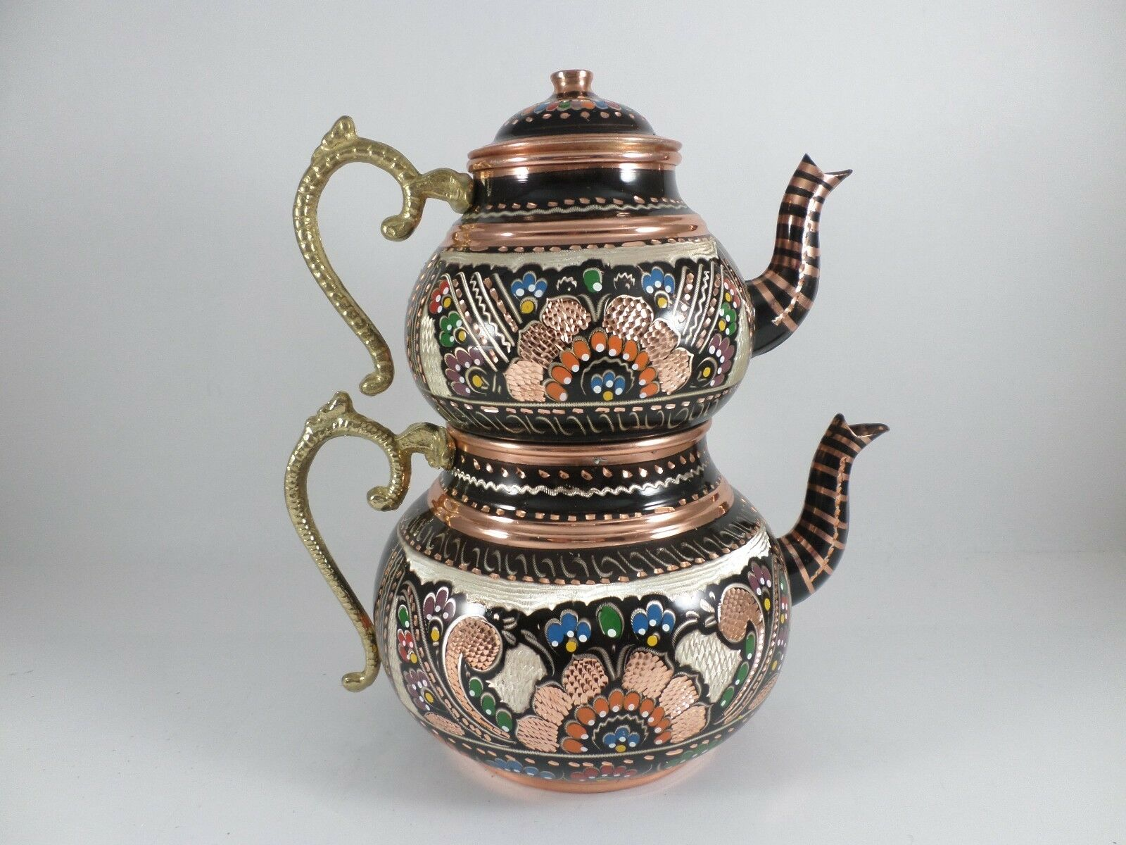 TURC traditionnel fait main en cuivre étamé Théière Set semaver-Large 26 cm