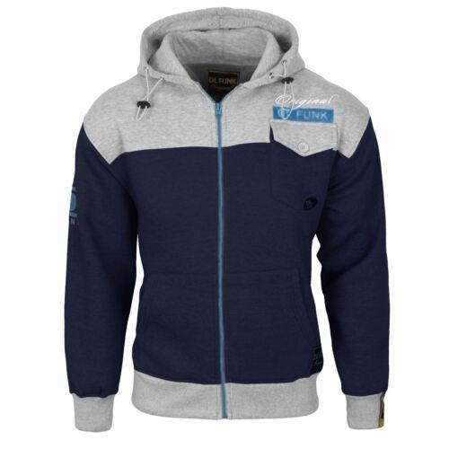 Mens DL FUNK Hoodie Sweatshirt Hooded Zip Up Stylish Jumper Fleece Top Jacket
