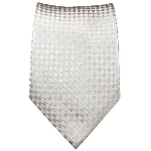 Paul Malone Krawatte weiß silber pink kariert Seidenkrawatte 472