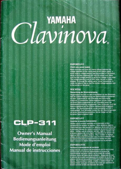 yamaha clavinova owner s manual clp 311 1996 japan ebay rh ebay com yamaha clavinova user manual yamaha clavinova user guide