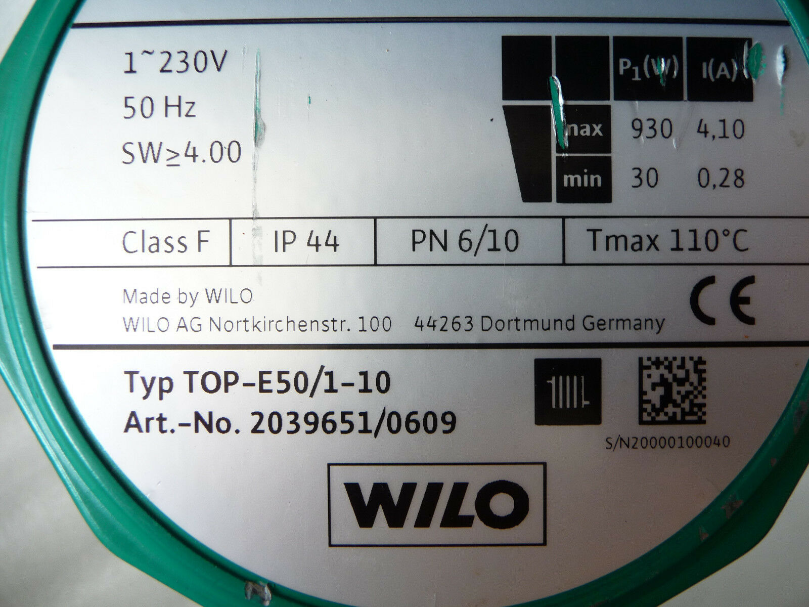 Wilo TOP E 50 / 1 - 10 Heizungspumpe 230 Volt 2039651 280 mm gebraucht P3457/18