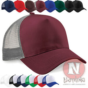 Unisex-Beechfield-snapback-Half-mesh-retro-trucker-baseball-cap-hat-Brand-new
