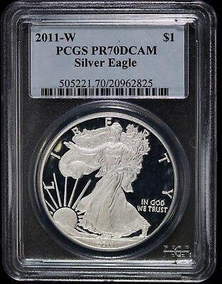 2011-W American Silver Eagle Dollar PR70DCAM PCGS Proof 70 Deep Cameo