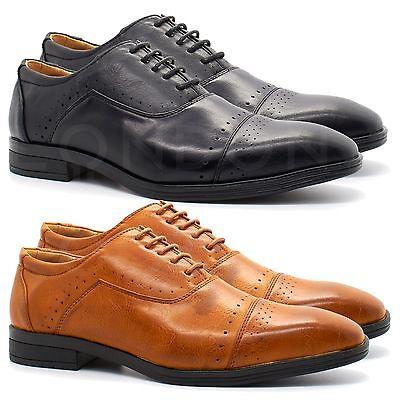 Bellissimo Nuovo Uomo In Finta Pelle Italiana Oxford Brogues Shoes Lacci Smart Ufficio Formale-mostra Il Titolo Originale Belle Arti