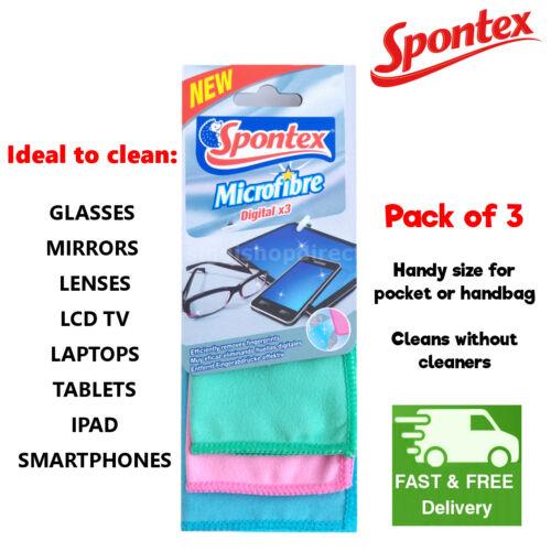 Spontex microfibre chiffon de nettoyage des vitres miroirs verres tv lcd ordinateur portable ipad