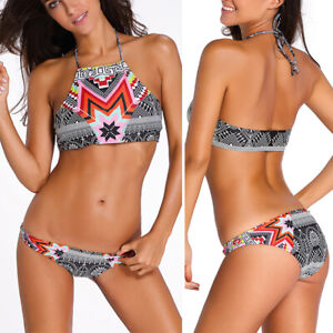 4ac17c0828 2019 M Striped Geometric Print Padded Bra Halter Top Bikini Bathing ...