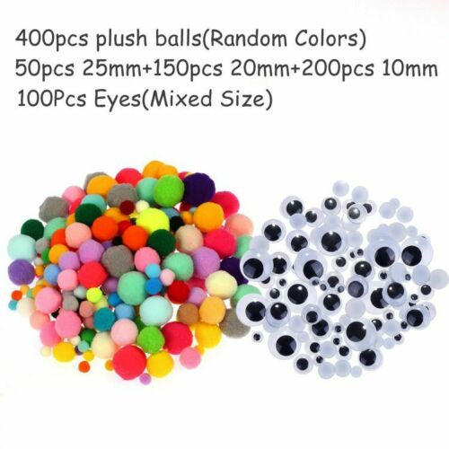 Pompoms DIY Crafts Rainbow Colors Shilly-Sticks Educational Toys Handmade Arts
