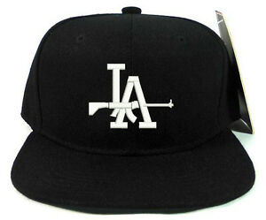 LA DODGERS WITH SHOT GUN LOGO Black Snapback Cap Hat Adjustable one ... 4b4742ff32a