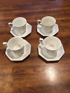 6 johnson bros brothers heritage white tea cups /& saucers tea set