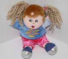 "Dan Dee Plush DOLL 9"" Girl Friend Blonde Yarn Pigtails Brown Hair Glitter Shoes"