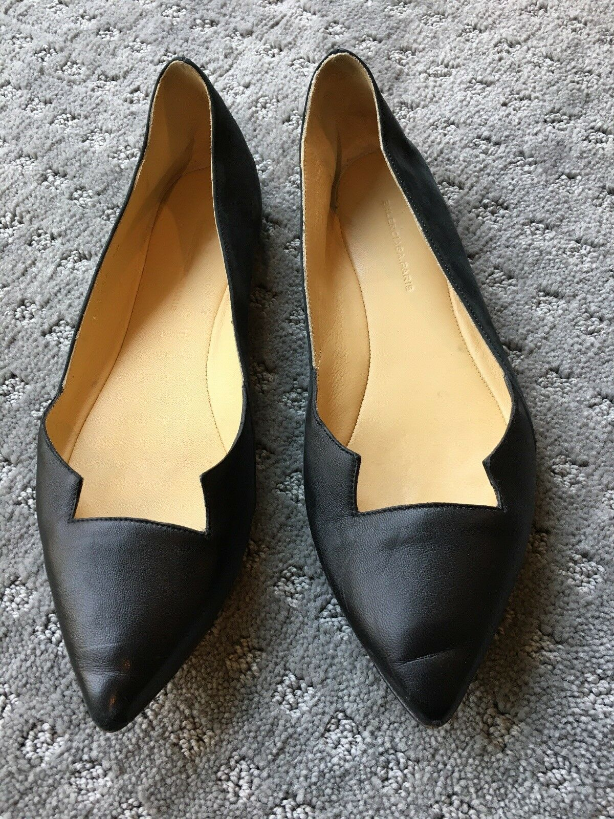 Balenciaga Black Leather And Suede Flat Size 38