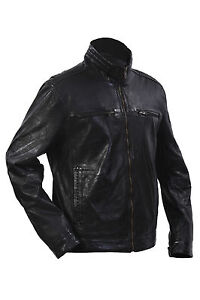 Infinity Mens Casual 100/% Sheepskin Black Nappa Leather Quilted Jacket