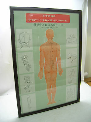 Hospitable Vintage Acupuncture Poster Framed Acupressure Chinese Medicine Large Back View Latest Fashion Health & Beauty Acupuncture