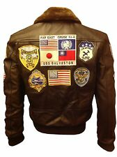 TOM CRUISE TOP GUN PETE MAVERICKS BOMBER BLACK Brown COW Leather Jacket