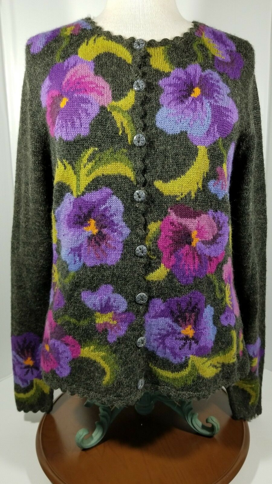 Alpaca Imports colorful Floral Buttoned Cardigan Sweater Women's Size Large L