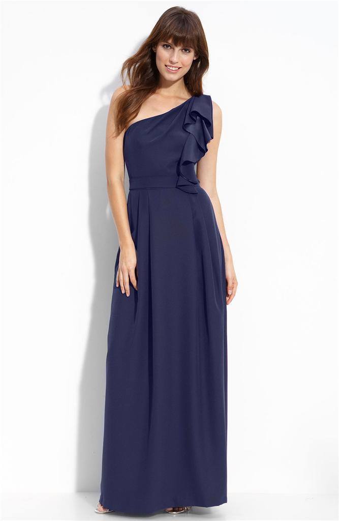 NEW LELA ROSE Bridesmaid Ruffled One Shoulder Matte Satin DRESS GOWN 6