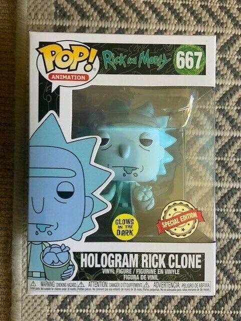RARE Hologram Rick klonen Gniedrig GITD 667 Funko Pop Vinyl New in Mint Box + P P