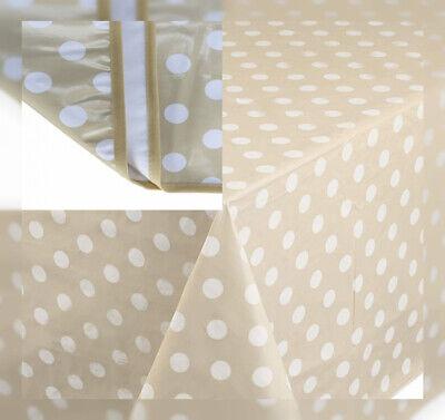 Home Direct Nappe Toile cir/ée PVC Rectangulaire 140 x 200 cm /à Pois Beige