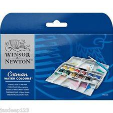 WINSOR e NEWTON COTMAN ACQUERELLI SET POCKET BOX PLUS 12 metà PENTOLE 14 PC articolo