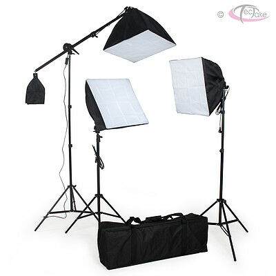 3x Continuous Video Studio Photography Lighting Kit Softbox Light Stand + Bulb