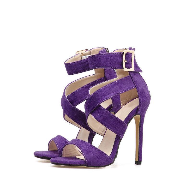 Sandali stiletto 12 cm púrpura Colorato tacco spillo spillo spillo simil pelle eleganti 1587  descuento de ventas
