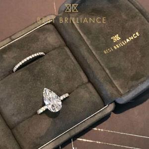 18K-White-Gold-Diamond-Engagement-Wedding-Ring-Set-2-5-Carat-Pear-Shaped-F-VS2