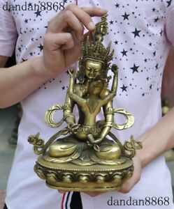 "12/""Old Tibetan Bronze gilt Vajra Mandkesvara Yab-Yum Happy Buddha Hevajra Statue"