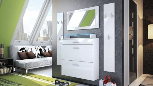 Garderobenset Flur Garderobe Diele Set Malea Weiß Spiegel Schuhschrank Hochglanz