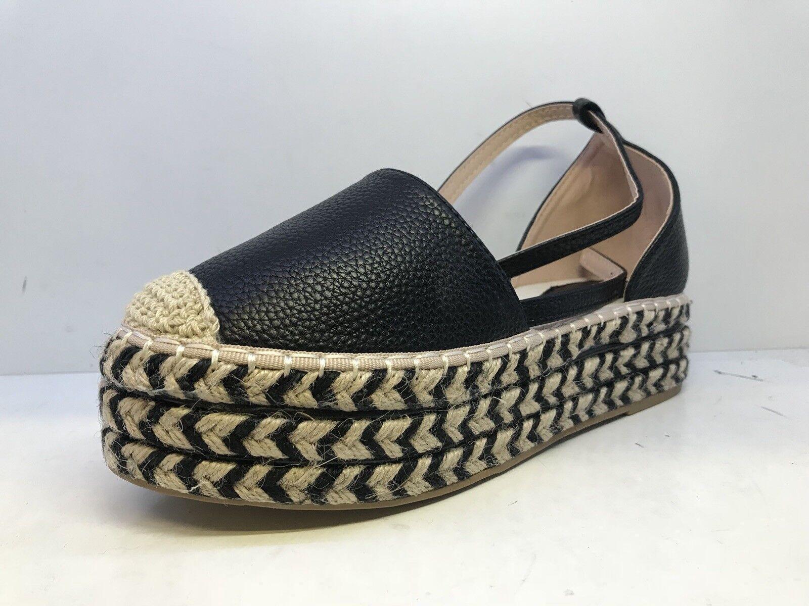 Style Women Ankle Tie Espadrille Platform shoes Black Grain Uk Size 5 (EU 38)