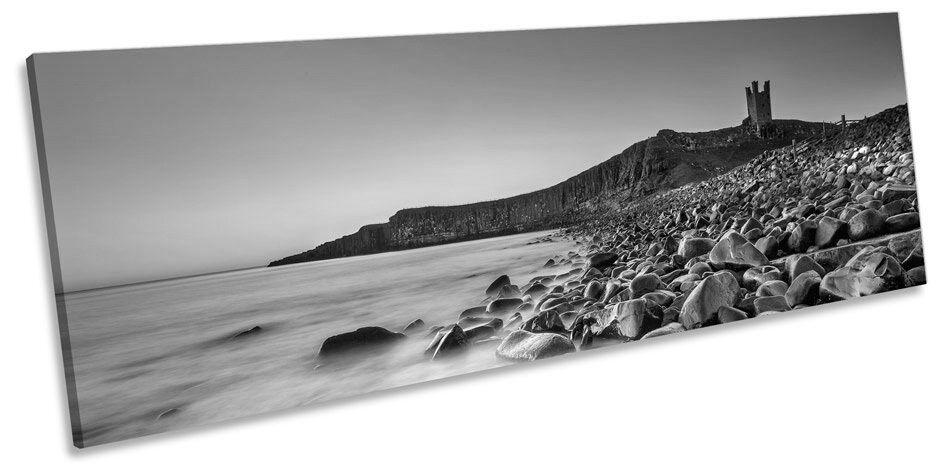 Castillo Dunstanburgh escena Sunset Blanco y Negro Negro Negro Lona Pa rojo  Arte panorama enmarcado impresión 5066b7