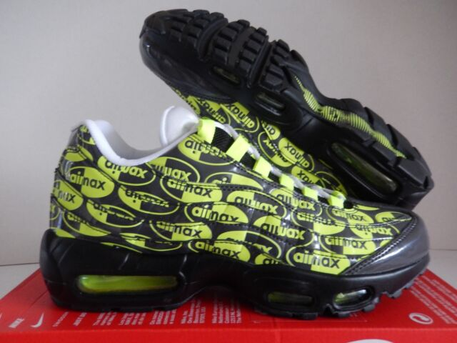 new concept 96932 4af97 Nike Air Max 95 Premium Logos Mens 538416-019 Black Volt Running Shoes Size  9
