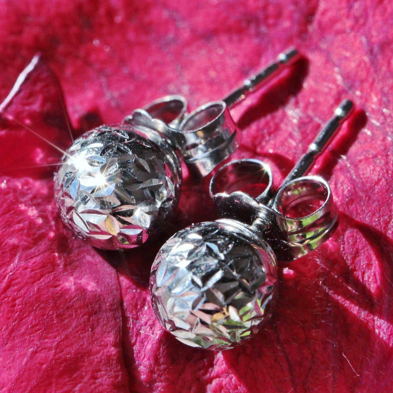 10k white gold 6mm diamond cut gold ball stud earrings vintage handmade