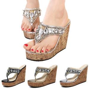 48b3ca8242f6c0 US Women s High Heel Wedge Platform Thong Flip Flops Sandals Beach ...