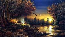 "Terry Redlin ""Evening Solitude"" Camping Print  18"" x 10.5"""