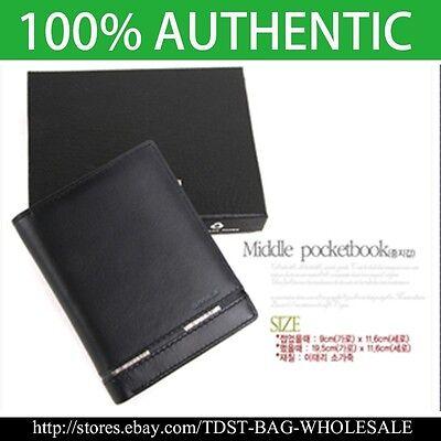 Crystal MEN/'S GENUINE LEATHER WALLET// ID Card Purse MW602M Bifold Wallet OMNIA