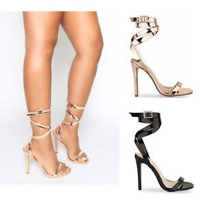 Womens strappy stiletto tacco alto con apertura Scarpe Sandali Diamante Party