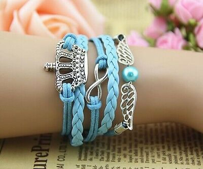 NEW Retro Infinity Imperial crown Wing Leather Charm Bracelet plated Silver