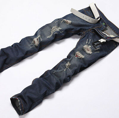 HOT STYLISH Mens Slim Fit Skinny Denim Jeans Trousers Straight Casual Jean Pants